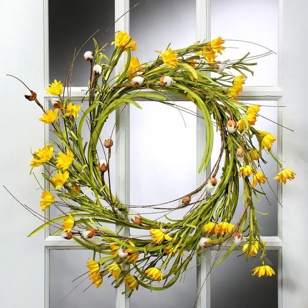 26 Inch Daisy & Cotton Wreath