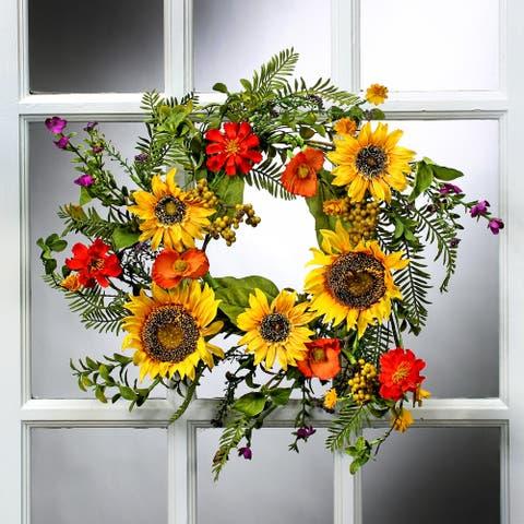 18 Inch Sunflower & Poppy Mix Wreath