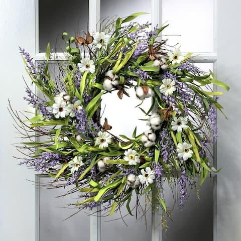 26 Inch Cotton, Cosmos, And Lavender Twig Wreath