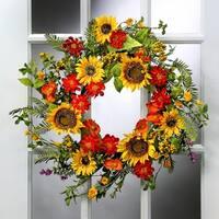24 Inch Deluxe Sunflower & Poppy Mix Wreath