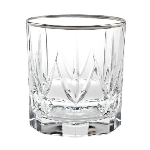 Chic Set of 6 DOf Tumblers Platinum Trim By Lorren Home Trends