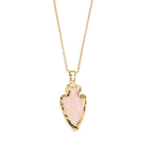 Abbakka Crystal Arrowhead Necklace - Rose