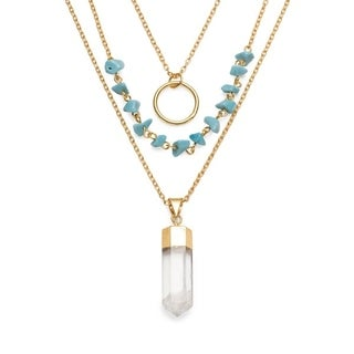Indira Real Crystal Cascade Necklace