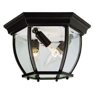 Angelus Black 3-light Flushmount Lantern
