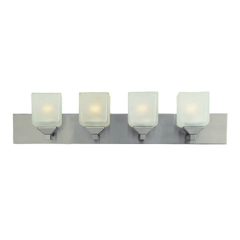 Edwards Pewter and Frosted 4-light Vanity Bar
