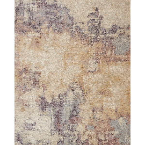 """Distressed Abstract Beige/ Plum Mosaic Rug - 2' x 3'4"""""""