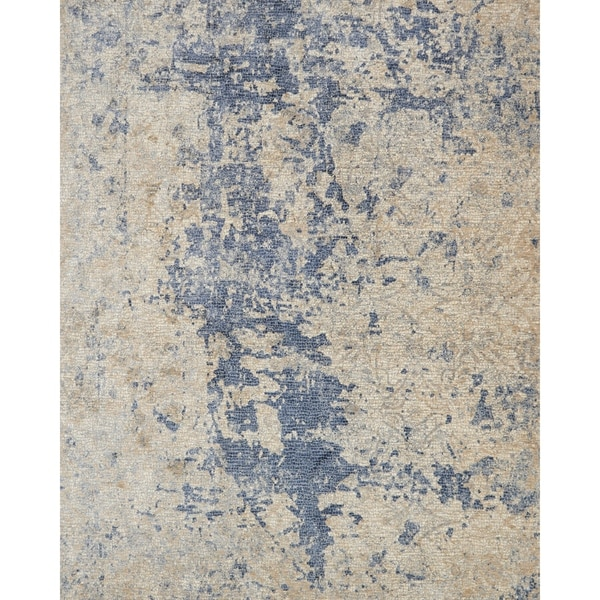"""Alexander Home Distressed Abstract Beige/ Blue Mosaic Rug - 2' x 3'4"""""""