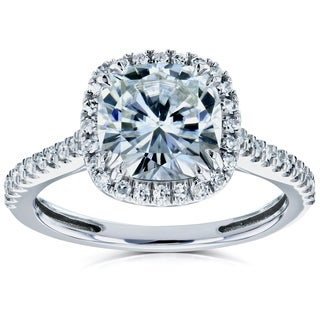 Annello by Kobelli 14k Gold 2 1/4ct TGW Moissanite and Diamond Cushion Halo Engagement Ring (HI/VS, GH/I)