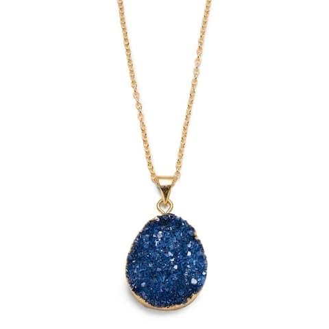 Rishima Real Druzy Drop Necklace - Dark Blue