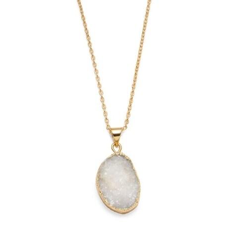 Rishima Real Druzy Drop Necklace - White