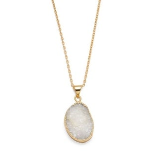 Rishima Real Druzy Drop Necklace - White