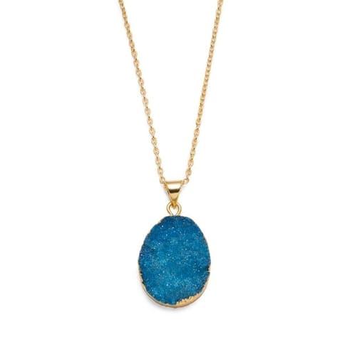 Rishima Real Druzy Drop Necklace - Light Blue