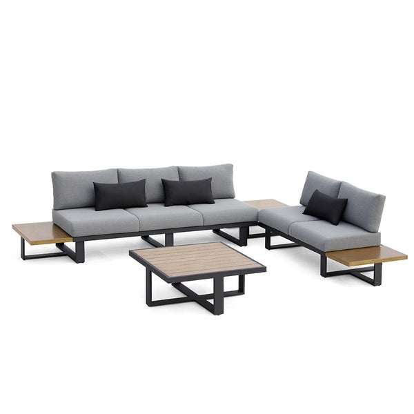 Shop Ove Decors Platform Grey 4 Piece Outdoor Sectional Set Free