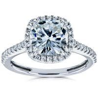 Annello by Kobelli 14k Gold 2 1/4ct TGW Forever One Moissanite and Diamond Cushion Halo Engagement Ring (DEF/VS, GH/I)