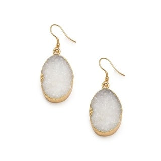 Handmade Real Druzy Drop Rishima White Earrings (India)