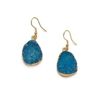 Real Druzy Drop Earrings - Rishima - Light Blue