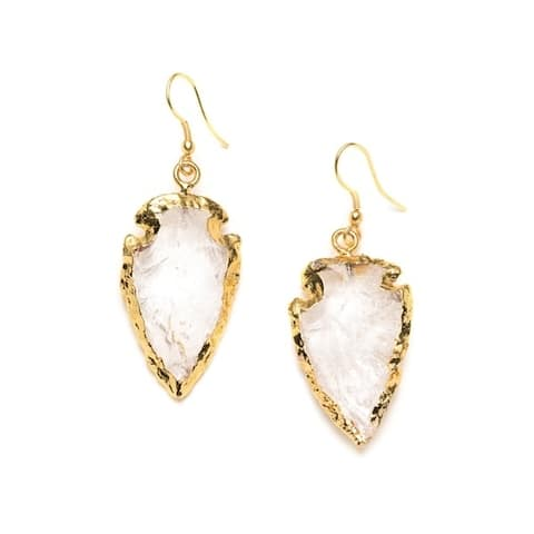 Handmade Real Crystal Arrowhead Earrings (India)