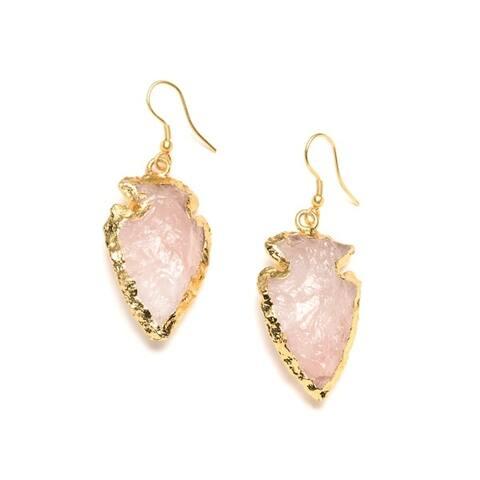 Handmade Real Rose Crystal Arrowhead Earrings (India)