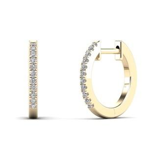 AALILLY 10k Yellow Gold 1/10ct TDW Diamond Hoop Earrings (H-I, I1-I2)