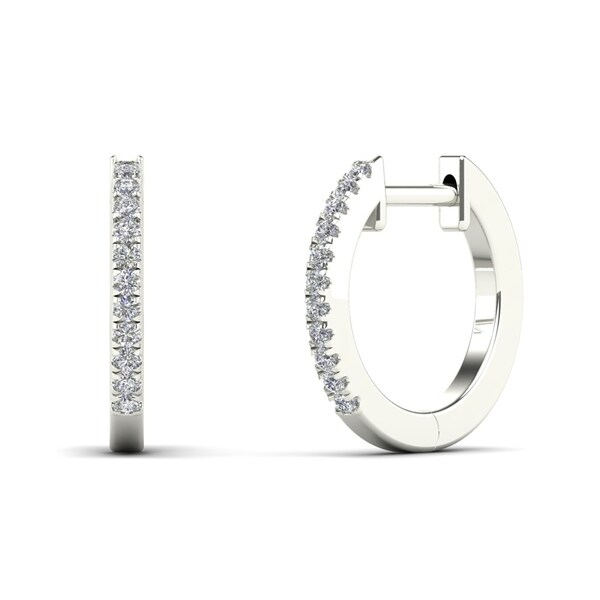 5446c4e00 Shop AALILLY 10k White Gold 1/10ct TDW Diamond Hoop Earrings (H-I ...