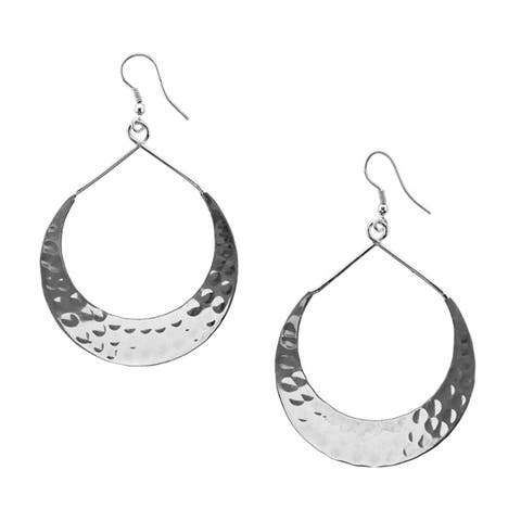 Hammered Lunar Crescent Earrings