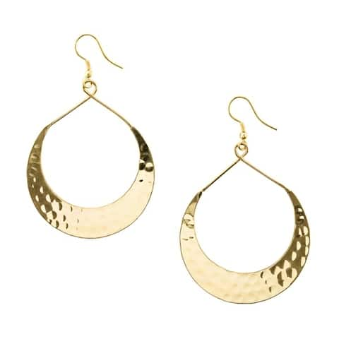 Handmade Hammered Lunar Crescent Earrings (India)