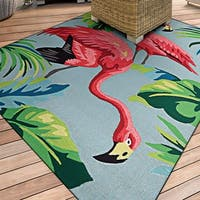 Miami Flamingoes Pink-Blue Indoor/Outdoor Area Rug - 8' X 11'