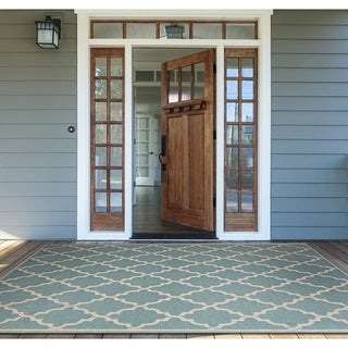 "Samantha Casbah Turquoise Indoor/Outdoor Area Rug - 2' x 3'7"""