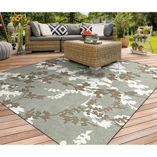 Miami Branches Sage-Ivory Indoor/Outdoor Area Rug - 2' x 4'