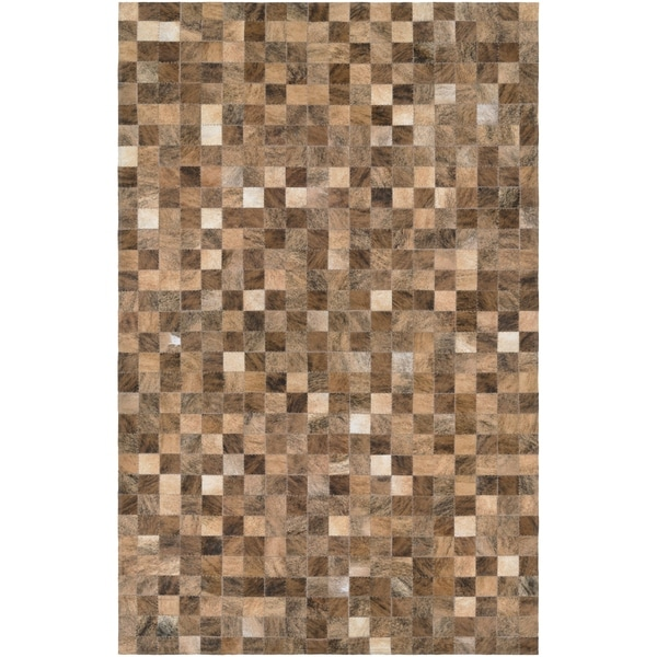 Hand-Crafted Couristan Chalet Pixels Brown Cowhide Leather Area Rug - 2' x 4'