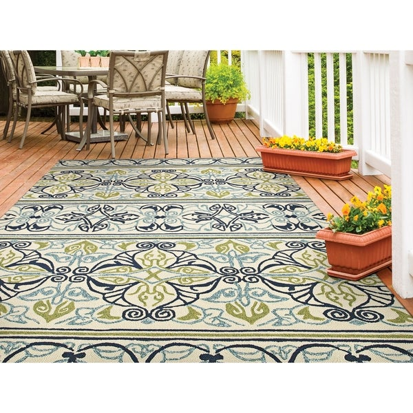 Miami Fleur Ivory-Lime Indoor/Outdoor Area Rug - 2' x 4'
