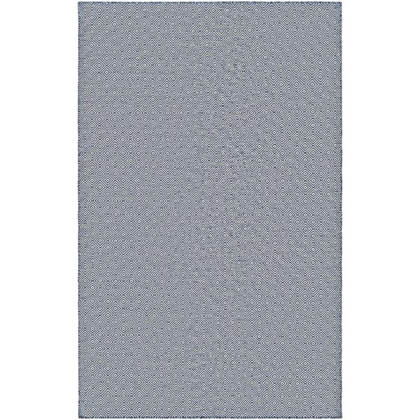 Hand-Woven Villa Diamonds Navy Indoor/Outdoor Area Rug - 2' x 3'