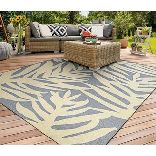 Miami Palm Light Blue-Ivory Indoor/Outdoor Area Rug - 2' x 4'