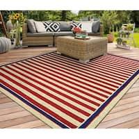 Couristan Covington Nautical Stripes Red-Navy Indoor/Outdoor Area Rug - 2' x 4'