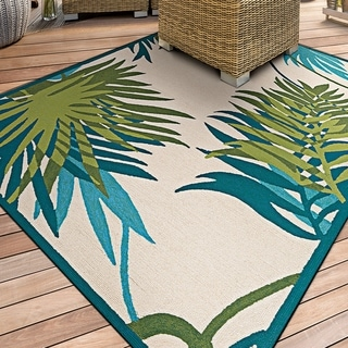 Miami Leaves Ivory-Green Indoor/Outdoor Area Rug - 2' x 4'