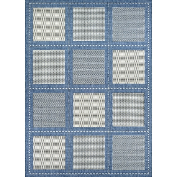Pergola Checkers Champagne-Blue Indoor/Outdoor Area Rug - 2' x 3'7""