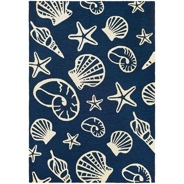 Picadilly Sea Shells Blue-Ivory Indoor/Outdoor Area Rug - 2' x 4'