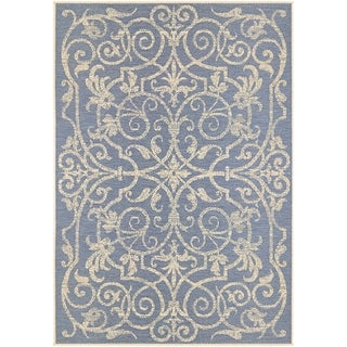Samantha Scroll Blue Indoor/Outdoor Area Rug - 2' x 3'7""