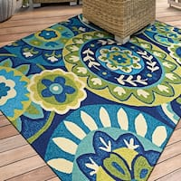 Miami Sundial Teal-Green Indoor/Outdoor Area Rug - 2' x 4'