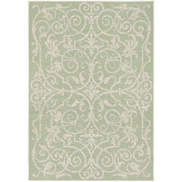 Samantha Scroll Green Indoor/Outdoor Area Rug - 2' x 3'7""