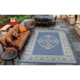 "Pergola Emblem Champagne-Blue Indoor/Outdoor Area Rug - 2' x 3'7"""