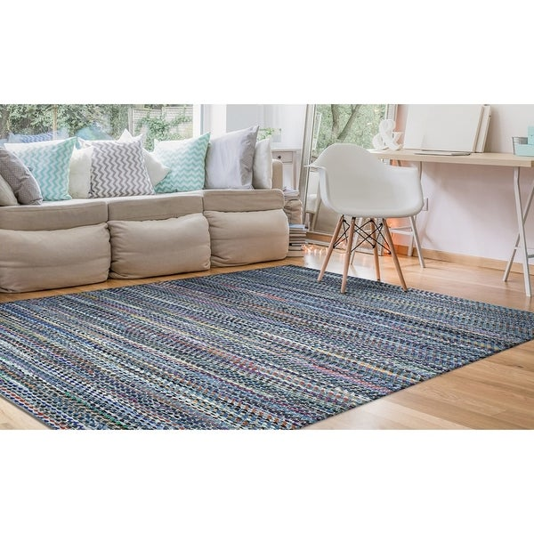 Hand-Loomed Green Leaves Contour Denim-Multicolor Area Rug - 2' X 3'