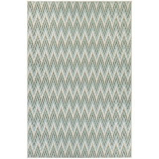Samantha Zigzag Blue Indoor/Outdoor Area Rug - 2' x 3'7""
