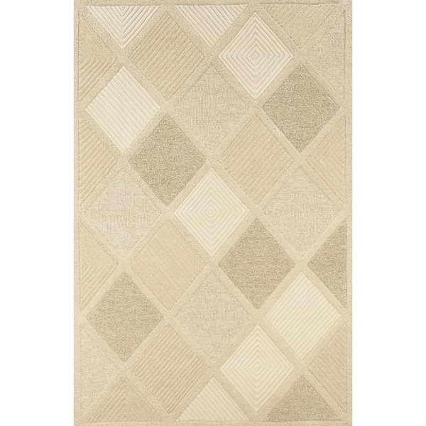 Hand-Crafted Barlow Diamonds White/Tan Area Rug - 2' x 4'