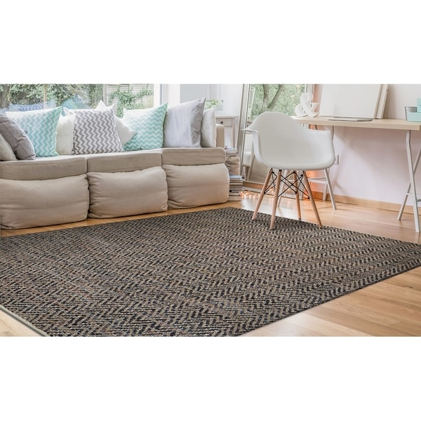 Hand-Loomed Green Leaves Frontier Natural Brown-Stone Area Rug - 2' X 3'