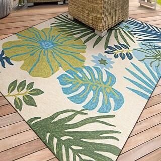 Miami Tropics Ivory-Blue Indoor/Outdoor Area Rug - 2' x 4'
