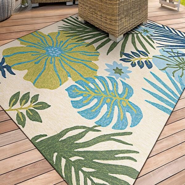 Ivory Blue Indoor Outdoor Area Rug