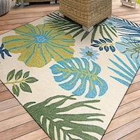 Miami Tropics Ivory-Blue Indoor/Outdoor Area Rug - 2' x 4'