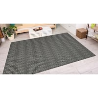 Couristan Cape Barnstable Black-Tan Indoor/Outdoor Area Rug - 2' x 3'7
