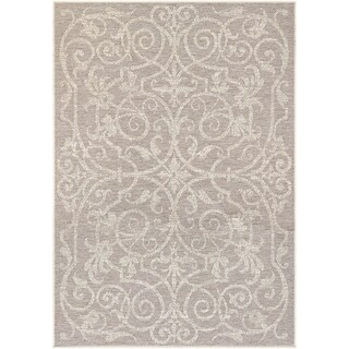 Samantha Scroll Brown Indoor/Outdoor Area Rug - 2' x 3'7""